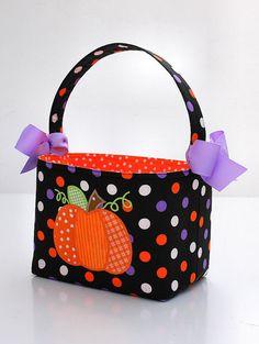 Halloween Trick or Treat bag basket fabric Applique pumpkin
