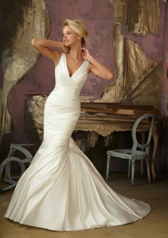Mermaid V-neck Beaded Embroidered Accent Asymmetrically Pleated Satin Wedding Dress-wm0085,  $242.95