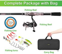 PLUSINNO® Spinning Rod and Reel Combos FULL KIT Telescopic Fishing Rod Pole with Reel Line Lures Hooks Fishing Carrier Bag Case and Accessories Fishing Gear Organizer