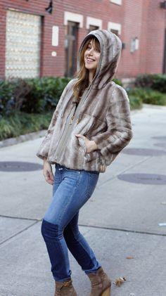 hooded faux fur jacket & denim