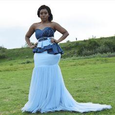 Stylish South Africa Shweshwe Dresses Fshion In 2020 Sepedi Traditional Dresses, African Fashion Traditional, African Traditional Wedding Dress, Traditional Wedding Attire, South African Fashion, African Fashion Designers, Latest African Fashion Dresses, Seshweshwe Dresses, Party Dresses