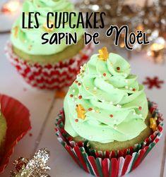 Recette facile pour réaliser de délicieux cupcakes en forme de sapins de Noël au bon goût de pistache avec un coeur gourmand au praliné noisettes.