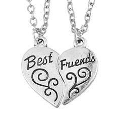 MJARTORIA 1Paar Silber Farbe kette Halskette Anhänger Halsschmuck Herzkette Kette mit Gravur Best Friend