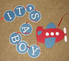 Airplane Baby Shower Banner- It's A Boy, Custom Colors Available. $20.00, via Etsy.
