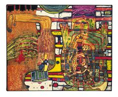 Paintings - Hundertwasser KAWAKAWA HOSPITAL AND BANGKOK ACUPUNCTURE 1977I tried my hand at farming. I could milk a pail of milk from my cow and make cheese, too. But when the calf on a tether, which I didn't want to let go of, threw me down a slope, I had to go to hospital with a fractured shoulder. Back home from the hospital, I slipped off an embankment and rolled over in my car, just like in a stunt film, and had to go back to Kawakawa Hospital with broken ribs. The subsequent acupuncture…