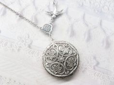 Silver Locket Necklace  Silver FLOWER LOCKET  Celtic by birdzNbeez, $28.00