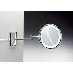 Ws bath collections mevedo polished chrome led wall mounted wall mounted magnifying mirror aloadofball Choice Image