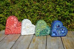 Green glass mosaic heart shaped box by mimosaico on Etsy