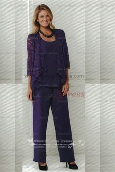 Grape Elegant lace and Chiffon mother of the bride trousers suits nmo-010