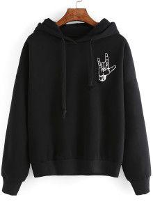 55df2c4b28 Black Gesture Print Drop Shoulder Hooded Sweatshirt Alien Sweatshirt