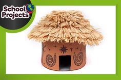 This how to make an African hut model project uses air dry clay and is decorated with a raffia roof and felt-tip tribal art. Perfect as a school project.