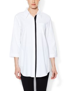Stretch Cotton Contrast Placket Tunic by OneForty8 by Lafayette 148 New York at Gilt