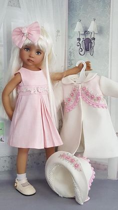 "DRESS,COAT SET MADE FOR EFFNER LITTLE DARLING 13"", MY MEADOW AVERY 14""DOLL 