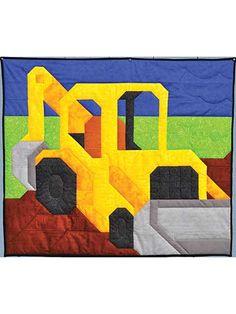 Pieced Lap Quilt & Throw Patterns - Backhoe Quilt Pattern