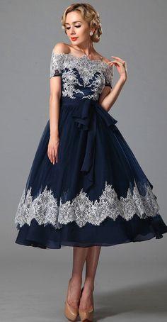 Vintage Off Shoulder Navy Blue Cocktail Dress
