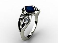 !8ct white gold, Sapphire and Diamond