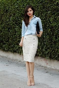 denim chambray shirt & an embelished cream pencil skirt. wear to work.