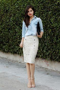 denim chambray shirt & an embelished cream pencil skirt. wear to work.