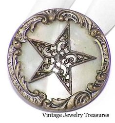 Antique Vintage Paris Mother Pearl Star Design Button French Steel Brass