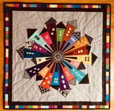 My take on the Dresden Neighborhood Quilt. neighborhood My take on the Dresden Neighborhood Dresden Plate Patterns, House Quilt Patterns, House Quilt Block, Quilt Blocks, Dresden Quilt, Halloween Quilts, Small Quilts, Mini Quilts, Circle Quilts