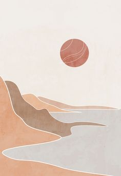 The poster is perfect for the decor of your bedroom, because it has calm pastel shades. Minimal Art, Nature Posters, Cute Wallpapers, Wallpaper Wallpapers, Screen Wallpaper, Iphone Wallpapers, Aztec Wallpaper, Artistic Wallpaper, Pink Wallpaper