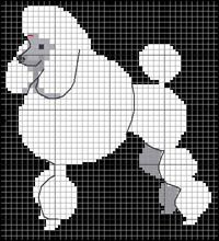 Pudel (vit; stor-) Mini Cross Stitch, Cross Stitch Animals, Cross Stitch Charts, Cross Stitch Designs, Cross Stitch Patterns, Cross Stitching, Cross Stitch Embroidery, Embroidery Patterns, Pixel Pattern
