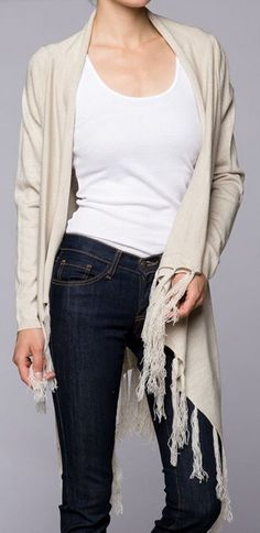 I love long sweaters over skinny jeans or leggings: comfort! Forgiving! Aiden Sweater in Natural Softness