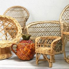 Lovely Mini Wicker Chair | Air Plant Holder, Boho Decor, Air Plant Display, Small  Wicker Chair, Rattan Chair, Mini Plant Stand, Mini Rattan Chair