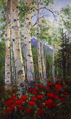 Aspen Poppies Delight 36 x 60 Original Oil Painting  We were installing a painting on a tall stone fireplace in a client's home in Vail, CO.  High on the ladder I turned to see this incredible view through the picture window and immediately new we had to paint it. This image inspired the promoters for the Vail Art Festival to use us as the official poster artist. I hope it brings you as much delight as it does us. Available as a Fine Art Print $450 up to $2800 on canvas.