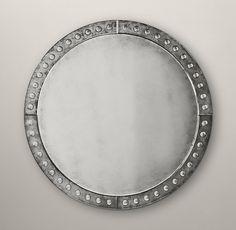 Palazzo Antiqued-Glass Round Mirror $749