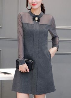 Band Collar Plain Blend Bodycon Dress - Was And Now - online shopping with discounted prices Simple Dresses, Cute Dresses, Casual Dresses, Short Dresses, Dresses For Work, Hijab Fashion, Fashion Dresses, Dress Up, Bodycon Dress