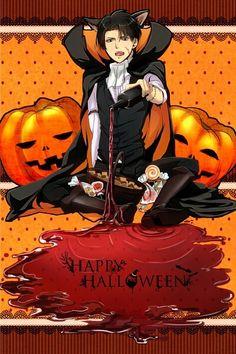 Happy Halloween, cat, vampire, Levi Ackerman, text; Attack on Titan