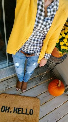 Stitch Fix Kut from Kloth Kate Distressed Boyfriend Jeans. Lucky Brand Leather M. - Outfits for Work - Stitch Fix Kut from Kloth Kate Distressed Boyfriend Jeans. Lucky Brand Leather M. Yellow Cardigan Outfits, Mustard Yellow Cardigan, Mustard Shirt, Plaid Shirt Outfits, Casual Outfits, Mustard Cardigan Outfit, Yellow Coat, Boyfriend Jeans, Fall Winter Outfits