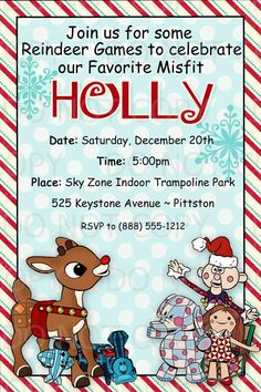 Printable DIY Christmas Party Rudolph MIsfit by onelovedesignsllc