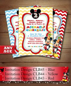 Items similar to HUGE SELECTION Chevron Mickey Mouse Birthday Invitation, Chevron Clubhouse Mickey Invitation, Chevron Mickey Invitations, Mickey Invitation on Etsy Mickey Mouse Birthday Invitations, Mickey Party, Mickey Mouse Clubhouse, Minnie Mouse, Pennant Banners, Printable Invitations, Party Printables, Third Birthday, Blue Polka Dots