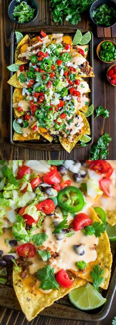 Easy Sheet Pan Nachos with Queso - Peas And Crayons These Easy Sheet Pan Nachos are topped with a speedy homemade queso and ready for faceplantage! Even better? They are totally customizable with both vegetarian and T-Rex versions! Vegetarian Nachos, Vegetarian Recipes, Cooking Recipes, Healthy Recipes, Vegan Meals, Appetizer Recipes, Dinner Recipes, Appetizers, Tapas