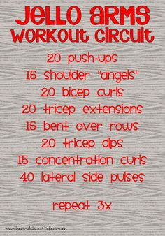 Jello Arms Workout Circuit Here's a circuit specially designed to give your upper body the jolt that it needs to get you building muscle and making some positive changes. Upper body weight training workouts for women. Weight Training Workouts, Body Weight Training, Fitness Exercises, Quick Workouts, Arm Workouts, Daily Workouts, Crossfit, Concentration Curls, Upper Body Circuit