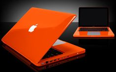orange apple laptop