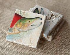 Fine Art Tumbled Marble Tile Coaster by lotuspetale on Etsy, $34.00