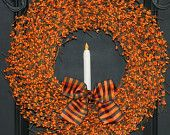 Fall Wreath -  Candle Wreath - Orange Wreath. via Etsy.