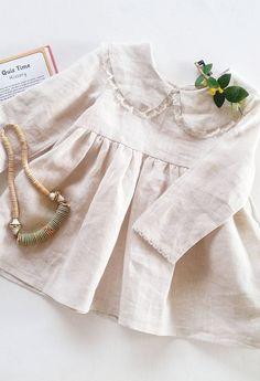 Girls Handmade Linen & Lace Dress With Peter Pan Collar | Lilac Handmade on Etsy #KidsFashionDress
