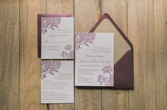 ELIZABETH Suite Romantic Package, marsala and gold, letterpress peony wedding invitation, elegant rustic wedding invitation