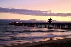 Seal Beach Pier with purple sunset. Seal Beach California. West Coast, California, Sunset, Beach, Ocean, Orange County.