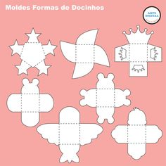 Kit com 21 moldes forminhas para scrap Cardboard Box Crafts, Paper Crafts, Pottery Lessons, Diy And Crafts, Crafts For Kids, Free To Use Images, Box Patterns, Paper Gift Box, Origami Box