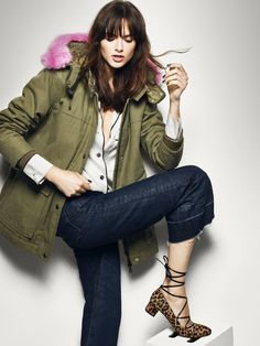 The Perfect Parka  This Jcrew parka gets an update with a splash of candy pink.  Team with leopard print shoes to add some extra fun.