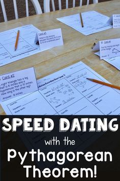 Pythagorean Theorem Speed Dating Fun middle school math game where students work with different partners to solve pythagorean theorem problems! Includes missing side lengths of right triangles, distances between points, and shapes. Math 8, Math Teacher, Math Classroom, Fun Math, Math Games, Teaching Math, Teaching Geometry, Kids Math, Math Fractions
