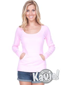 7269f76c359f2 Women Scoop Neck Raglan Long Sleeve With Pouch - W1C0413 The perfect  in-between and