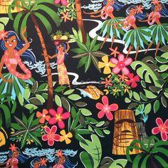 LEIS LUAUS and ALOHAS Black Hawaiian Hula Fabric by zeetzeet
