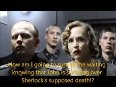"Since River Song didn't succeed in killing Hitler, we get to see his reaction to ""The Reichenbach Fall""...' his fanboy mind went puff.' Hahaha #Sherlock"