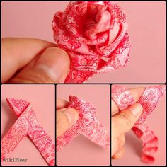 How to make a flower by simply folding the ribbon over and over. Can use the flower for many different items but it especially brightens up any boring headband.